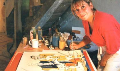 ©Nicole Dumas-Gauthier - Nicole Dumas-Gauthier dans son atelier