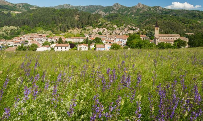 ©S.BUGNON - Jaujac - Le village vu de Rochemure ©S.BUGNON