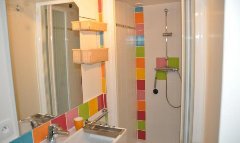Gîtes de France - salle d'eau avec wc privatif attenant à salon/:chambre au rez de chaussée