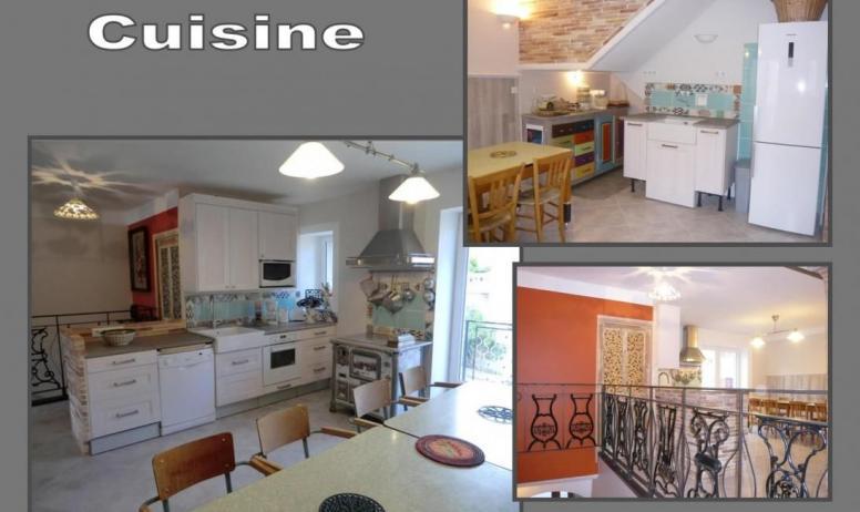 Gîtes de France - 1er étage : cuisine très spacieuse et toute équipée. 2 éviers,Lave vaisselle,plaque à induction,Four,micro ondes, frigidaire/congélateur, petit électro ménager... Les deux tables réunies peuvent accueillir 10 personnes et sont