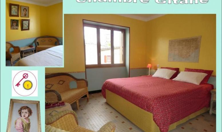 Gîtes de France - 2nd: chambre 1/ Gitane. 2 lits modulables en un très grand lit double (180x200 cm) ou 2 lits individuels (90x200 cm). Possibilité d'un couchage individuel supplémentaire