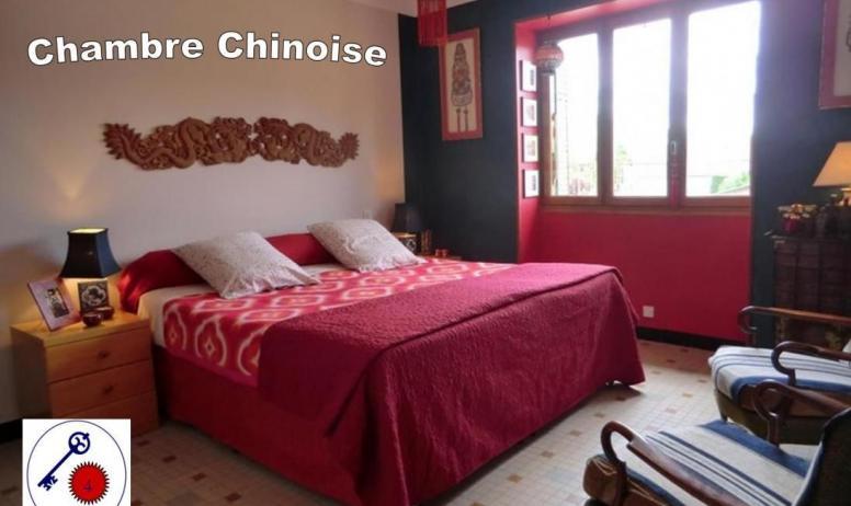 Gîtes de France - 2nd: chambre 4/ Chinoise. 2 lits modulables en un très grand lit double (180x200 cm) ou 2 lits individuels (90x200 cm).