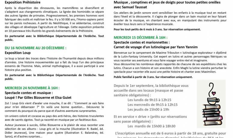 Bibliothèque de Villeneuve de Berg - Programme Octobre/Novembre 2021 de la bibliothèque de Villeneuve de Berg